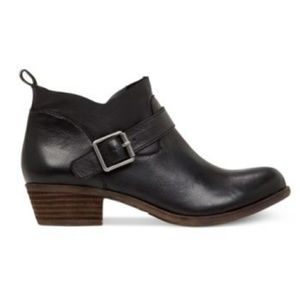 Lucky Brand Black Leather Boomer Ankle Boots Sz 9